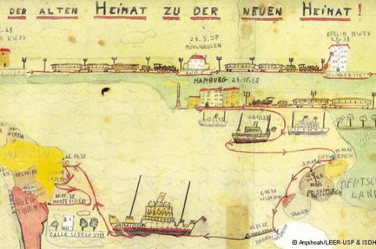 Dibujo de de Fritz Freudenheim (12 años) con ruta de escape en el barco Jamaique (1938), hacia Brasil.